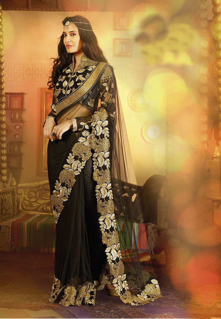 #Bollywood Designer #Black #Georgette Saree With #Flower Print Border