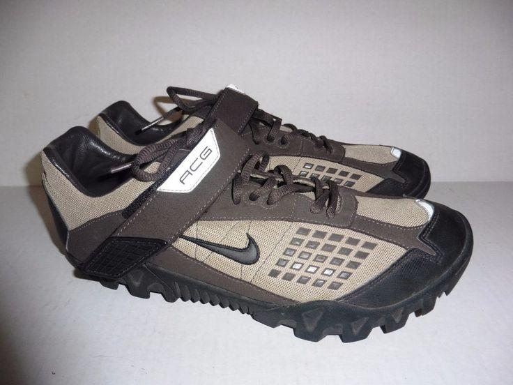NIKE ACG Mens sz 10 Brown Tan Cycling bike shoes athletic sneakers sport EUC! #Nike #Cycling