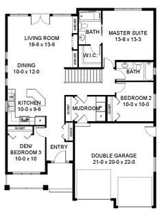 1403 sq ft Craftsman Traditional House Plan 96228 Level One