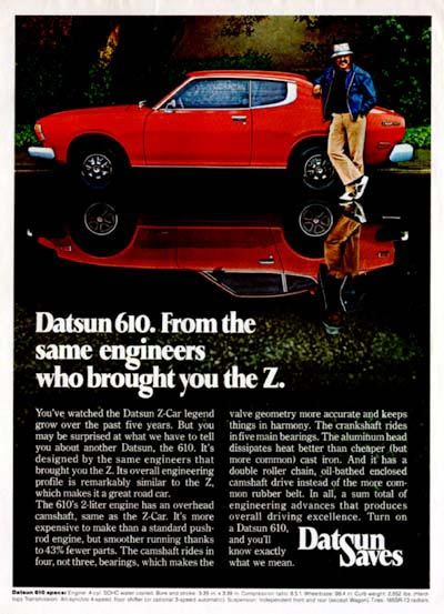 1975 Datsun 610 Hatchback original vintage advertisement. From the same engineers who brought you the Z.