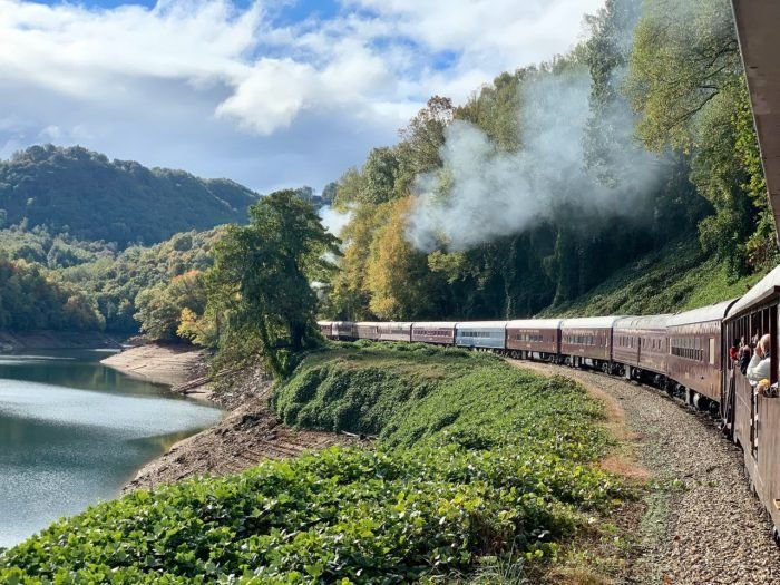 Ride The Train Into A Mountain Gorge And Zip Line All The Way Out On The Tarzan Zipline Train Adventure In North Carolina In 2020 Train Adventure North Carolina Travel Ziplining