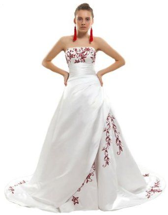 Faironly White Satin Crimson Embroidery A Line Wedding Dress Bridal Gown 56mq
