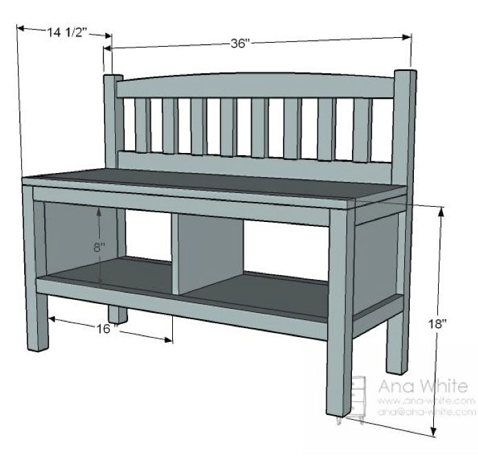 Cottage Bench with Storage Cubbies DIY project from Ana White