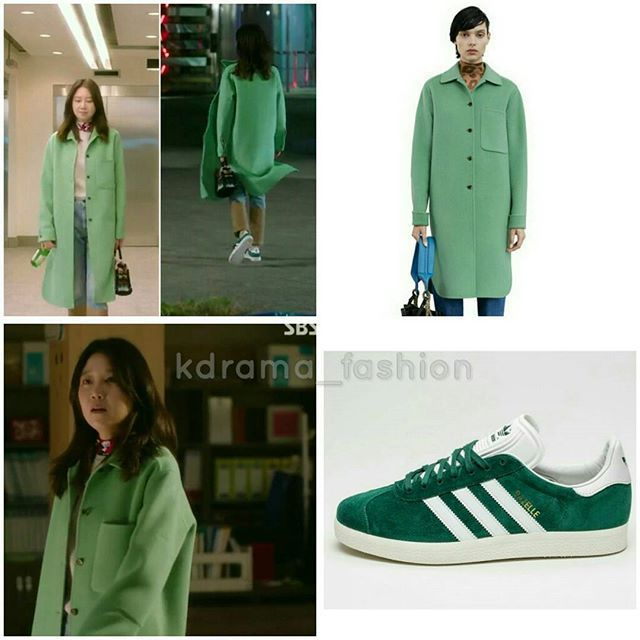 Gong Hyo Jin wore ACNE STUDIOS Berkeley Double Washed Emerald Coat €1100 and ADIDAS Gazelle Collegiate Green/Vintage White €85 in Jealousy Incarnate Drama Episode 19. Photo credit to rightful owner.  #gonghyojin #공효진 #질투의화신 #패션 #스타패션 #패션스타그램 #드라마패션 #코트 #운동화 #acnestudios #coat #adidas #sneakers #kdramastyle  #jealousyincarnate #pyonari #표나리 #gongvely #rovvxhyo #starstyle #kdrama_fashion #kfashion #kstyle #lookoftheday #gonghyojinstyle