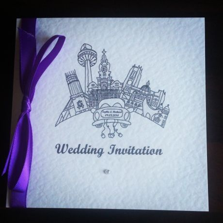 Handmade Liverpool themed wedding invitation available from The GBW!