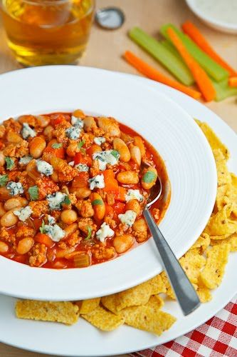 Buffalo Chicken Chili. So good and actually healthy, if you are judicious with the blue cheese crumbles. My husband likes this even more than his usual chicken wings!