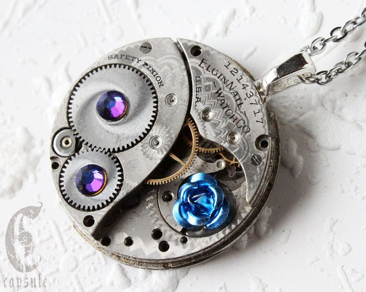 Steampunk Statement Necklace Pendant - Blue Rose Elgin Guilloche Etch Antique Pocket Watch Movement with AB Blue Swarovski Crystals Gift by CapsuleCreations on Etsy