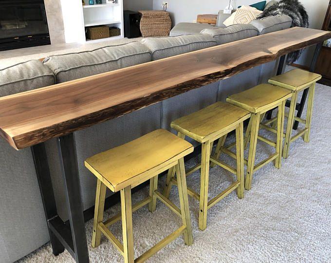 Sofa Table Bar Top Table Live Edge Black Walnut Slab Rustic Industrial Farmhouse Modern Steel Legs Cabin Furniture