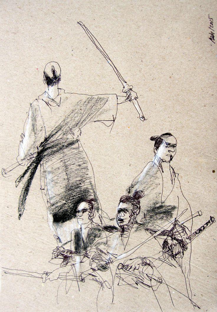 Azis Tirtaatmadja, samurai sketches ballpoint