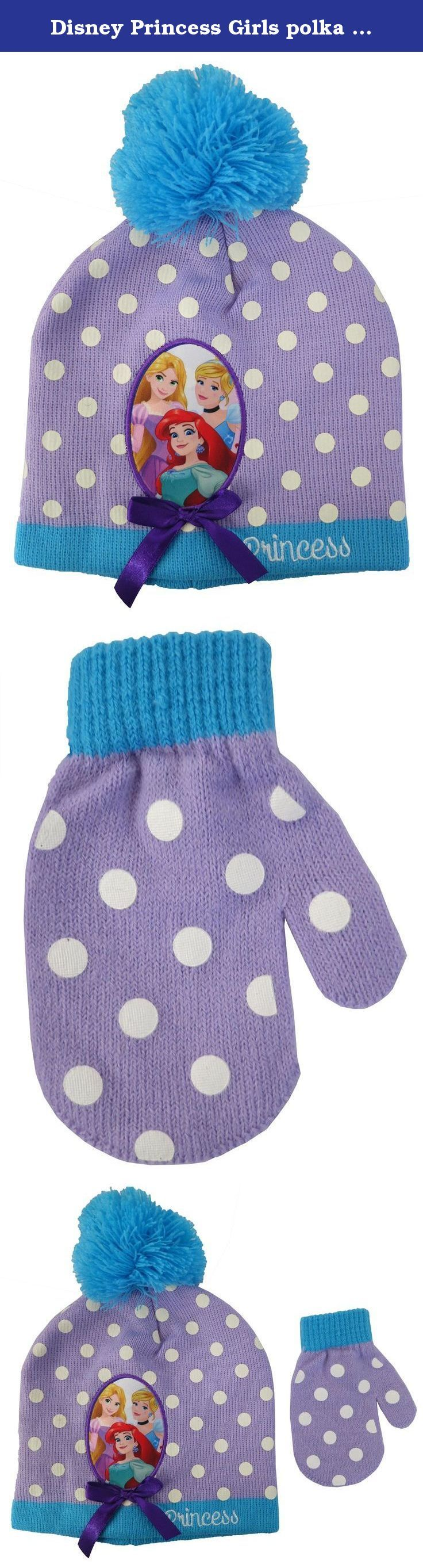 Disney Princess Girls polka dot Beanie Hat and Mitten Set - Toddler [4013]. Bring your favorite characters, Disney Princess Girls polka dot Beanie Hat and Mitten Set, With you to keep you comfortable and looking great in the cold! Hat Featuring: Favorite Characters Ariel Cinderella and Aurora turquoise Pompom, White Polka Dot, Turquoise edging, Purple Mitten: White Polka Dot, Turquoise edging One Size Fits Most Toddler Officially Disney Licensed Product Girls Lovely design with friendly...