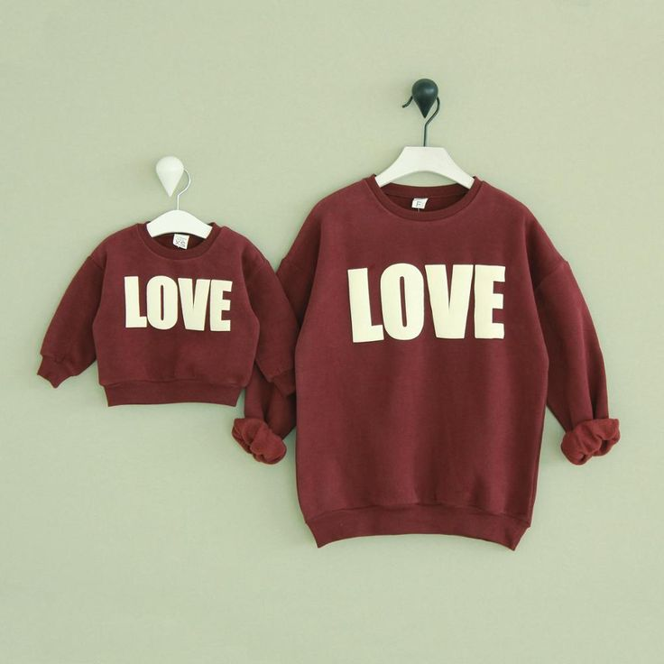 2 pieces/lot Winter Family look mommy and me hoodies cashmere sweater LOVE matching father mother daughter son outfits clothes