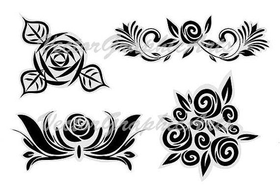Roses. Set of 4. Ornament for a tattoo от VectorGraphicArts
