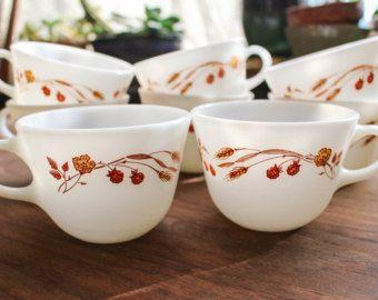 Pyrex Autumn Harvest Coffee Tea Cups / Vintage Pyrex Cups / Pyrex Coffee Cups / Autumn Leaves and Flowers / White Milk Glass Ovenproof Glass -    Edit Listing  - Etsy