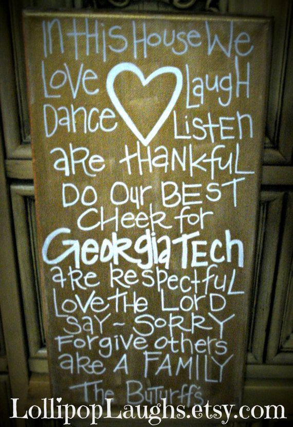 Georgia Tech In this house we hand painted sign. $17.00, via Etsy.