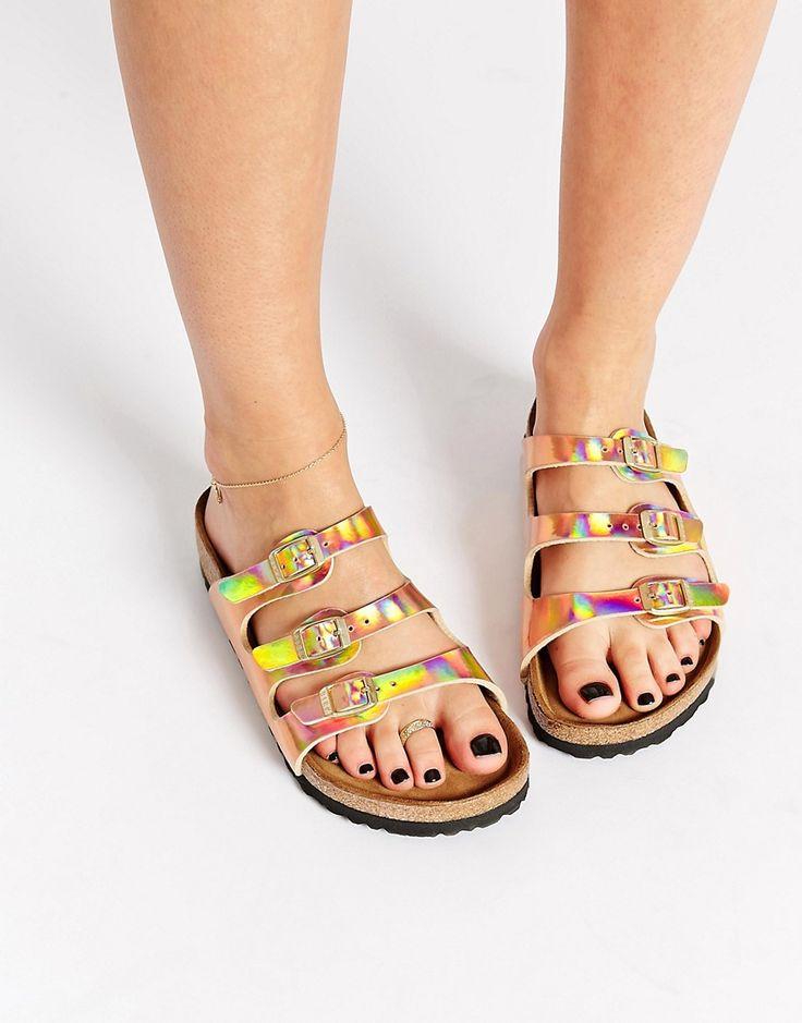 Image 1 of Birkenstock Florida Triple Strap Copper Regular Fit Flat Sandals