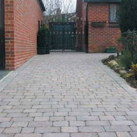 Block paving driveway using Marshalls tegula 60mm thick blocks, laid inRoundhay, Leeds, West Yorkshire.
