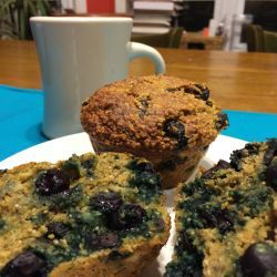 Healthy Banana Berry Muffins: Med bowl mix 4 T plain Greek yogurt, 1/4 cup buttermilk, & 2 lg eggs. Sec bowl mix 1/2 c WW white flour (or WW pastry flour), 1 c ground oat bran, 1.5 tsp baking powder, 1/5 tsp baking soda & 1/2 tsp salt. Mix 4 mashed bananas, 1/4 cup brn sugar, & buttermilk mix. Ad flour mix to bananas, gently fold to combine, being careful not to over-mix. Ad 1/4 c chia seeds & 1 c blueberries.Bake @ 375 15-20 min tops golden, t-pick clean. Insides very moist . gm