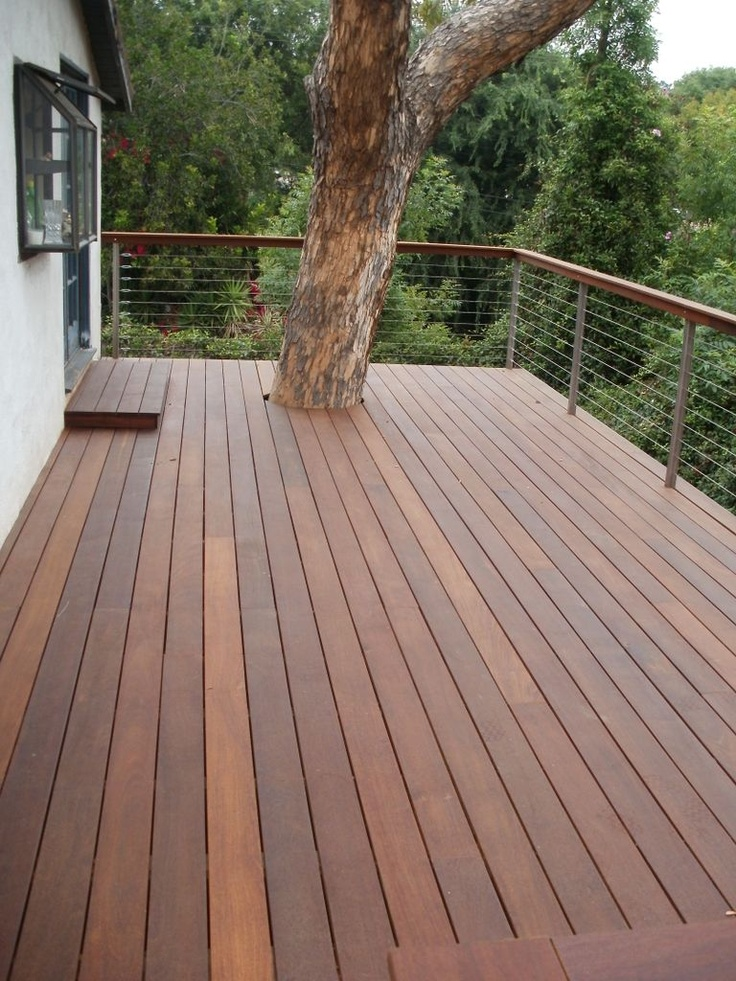 Ipe hillside deck los angeles hillside decks pinterest for Timber decking handrail