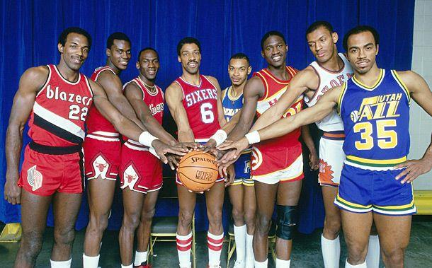 1985 NBA Slam Dunk Contestants left to right Clyde Drexler, Orlando Woolridge, Michael Jordan, Julius Erving, Terrence Stansbury, Dominique Wilkins, Larry Nance, & Darrell Griffith
