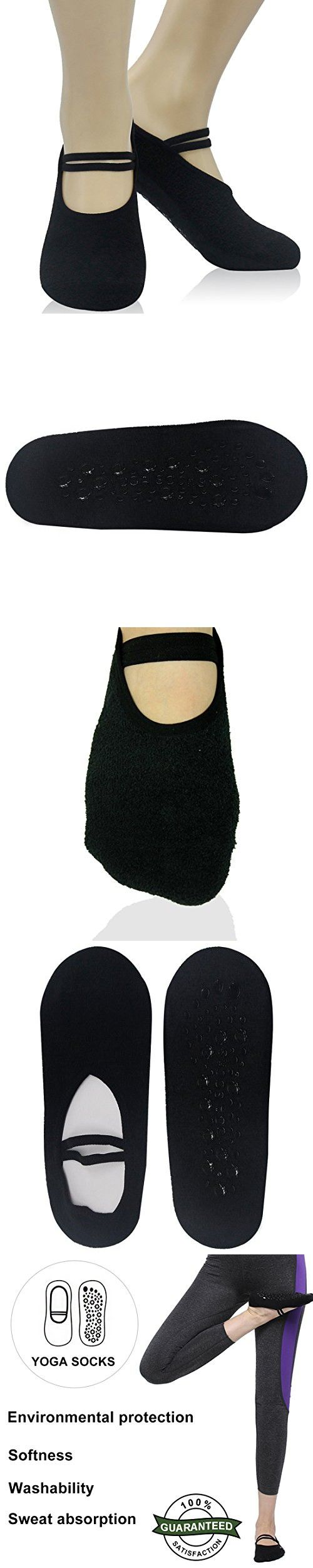 Womens Socks Non Skid, Forfoot Bellarina Grip Non-Slip for Ballet,Yoga,Pilates,Barre Toe Socks Women Shoes Size 6-10 Black 1 Pairs