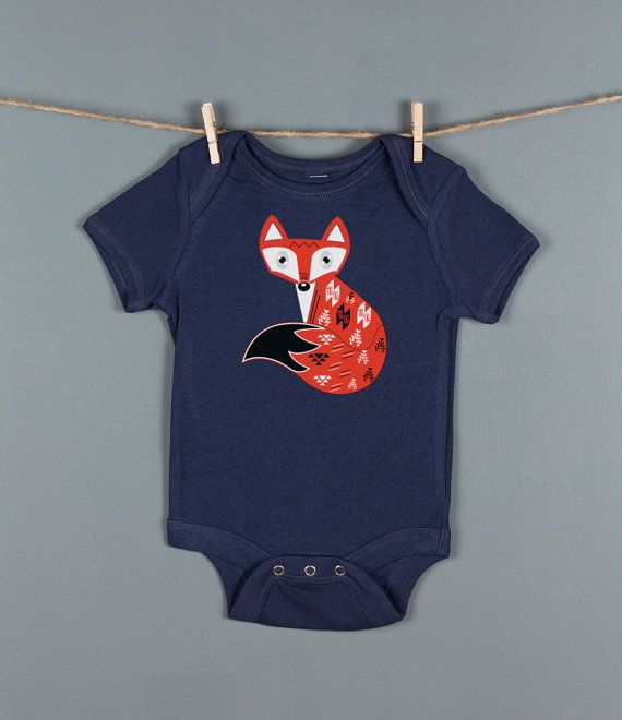 Fox Baby One Piece, Woodland Fox One Piece Bodysuit, Animal Rompers, Custom Screen Prints by Feather 4 Arrow on Etsy, $18.00