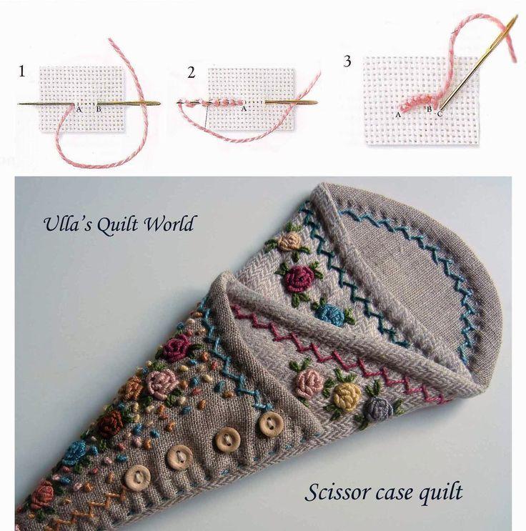 Ulla's Quilt World: Scissor case quilt + PATTERN  http://quiltworld2.blogspot.fi/2013/10/scissor-case-quilt-pattern.html