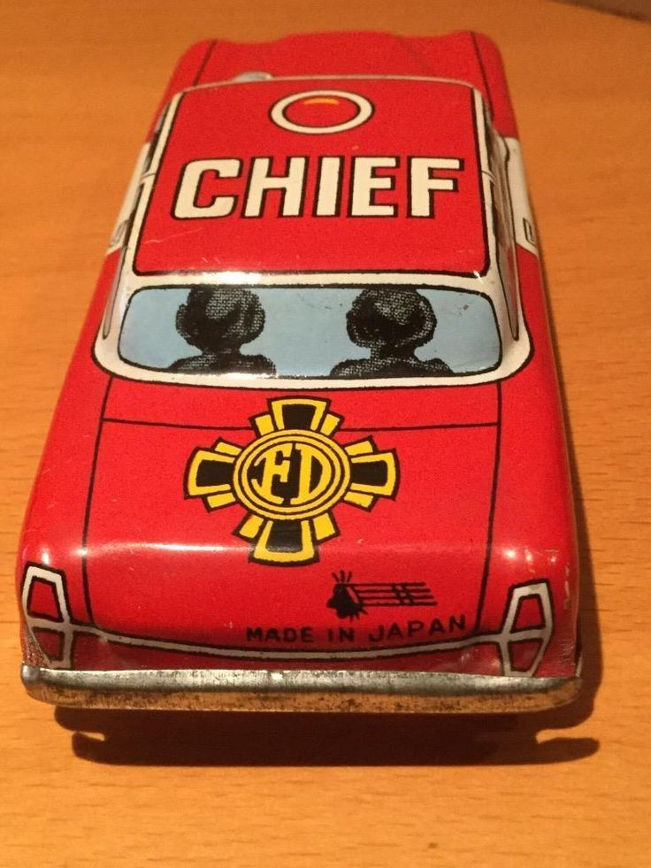 Tinplate Toys Fire Chief's Car Ichimura Japan friction VGC
