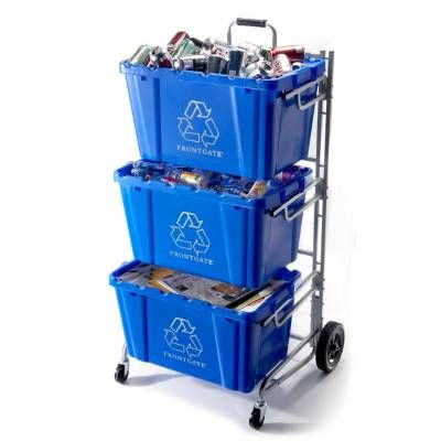 A model of efficiency and design, the Recycling Bin Cart saves space, strength, and most importantly, your back. The triple-bin cart stores large quantities of recycling materials or trash and helps you transport them to the curb almost effortlessly. Recycling bins are 18-gallon capacity and hold up to 100 lbs. (bins are sold separately) 3 tier cart acts as a recycling station Rust-resistant tubular frame stores up to 3 recycling bins Bin holders are staggered for easy access...