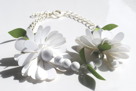 52 cm long adjustable necklace.  Matt silver-colour metal chain blended with resin petals and balls, see-through crystals, flowers and leaves made of matching fabrics.    This object has been made with optimum quality entirely handmade materials and accessories. Each small imperfection makes the item unique. #jewels