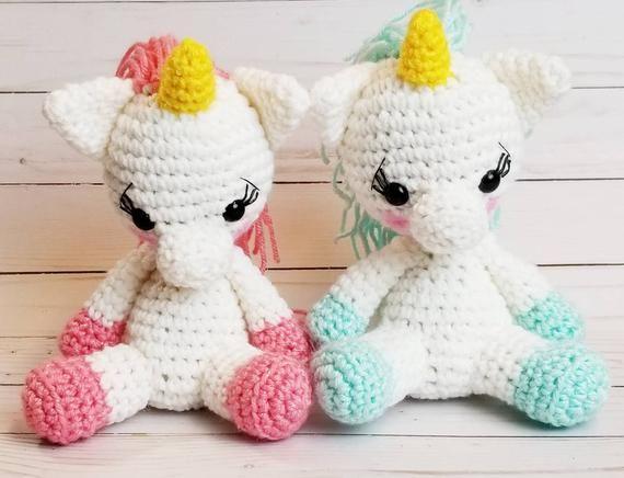 Crocheted baby unicorn / kawaii unicorn / cute unicorns / white unicorns/ 7 inch doll / 7 inch unico