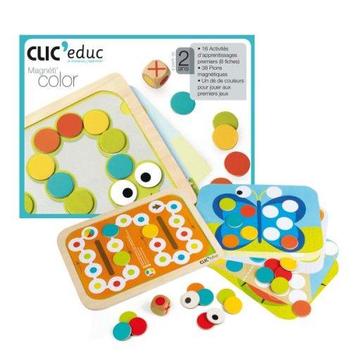 Ce plateau en bois est magnétique. L'enfant utilise les 38 pions magnétiques, eux aussi, et le dé pour apprendre les couleurs. Ce jeu lui propose 16 activités, des parcours simples et ludiques. Les enfants à partir de 2 ans peuvent composer facilement leurs premiers dessins, jouer à leurs premier jeux, apprendre tout en s'amusant. Ils disposent de pions magnétiques à poser sur le tableau de jeu. La composition est guidée par 16 fiches d'activités, que l'on positionne aisément sur le…