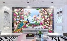 custom photo 3d wallpaper mural non-woven Birds and peacocks flowers decoration painting 3d wall mural wallpaper for walls 3d(China (Mainland))