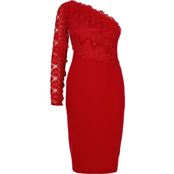 River Island Dark red lace one shoulder bodycon dress ($110) ❤ liked on Polyvore featuring dresses, bodycon dresses, red, women, red cocktail dress, long sleeve lace cocktail dress, long sleeve lace dress, dark red dress and red long sleeve dress