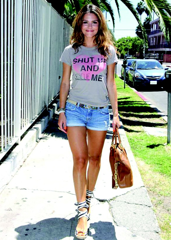 Maria Menounos in JF Shut up and ____ me tee.
