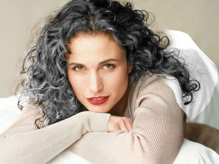 Andie Macdowell-age 56…finally letting her beautiful curly hair go gray. Description from pinterest.com. I searched for this on bing.com/images