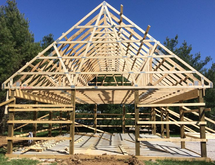 Framing Of 24 X 32 Pole Barn With 10 12 Pitch Roof And Attic Trusses
