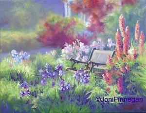 Lupine and Iris in Cottage Garden by Joan Finnegan Oil ~ 11 x 14   $550