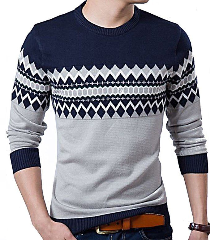 LAZERE MenCrewneck Sweater Slim Fit Wool Blend Knitted Aztec Print Pullover