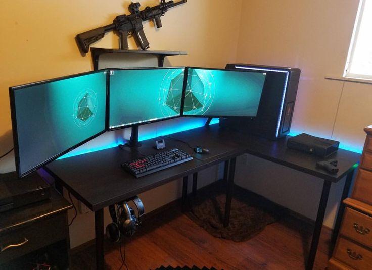 25 best gaming setup ideas on pinterest pc gaming setup computer setup and computer gaming room. Black Bedroom Furniture Sets. Home Design Ideas