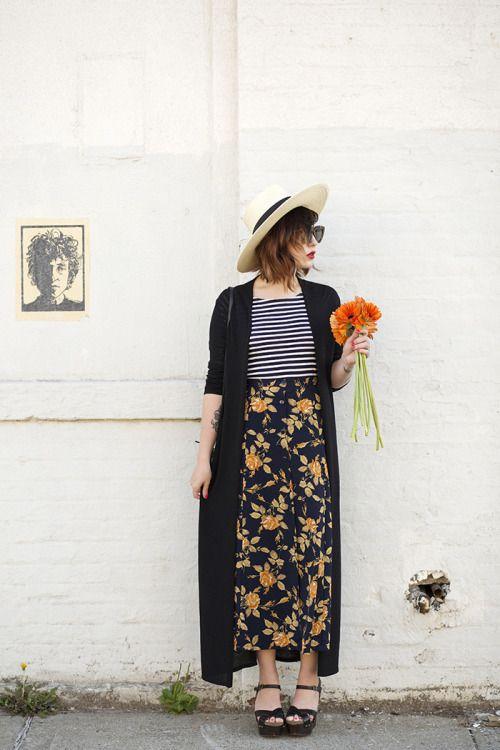 striped top, patterned skirt, black wedges, black long duster sweater, hat