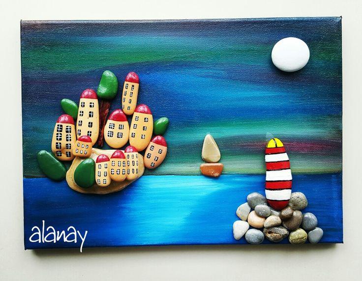 Canvas üzerine taş boyama sahil kasabası Michela Buffalini nin çalısmasından esinlenerek  çalıştım.