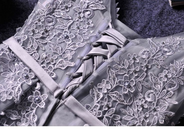 Cute A-line grey lace short prom dress,homecoming dresses - Thumbnail 4