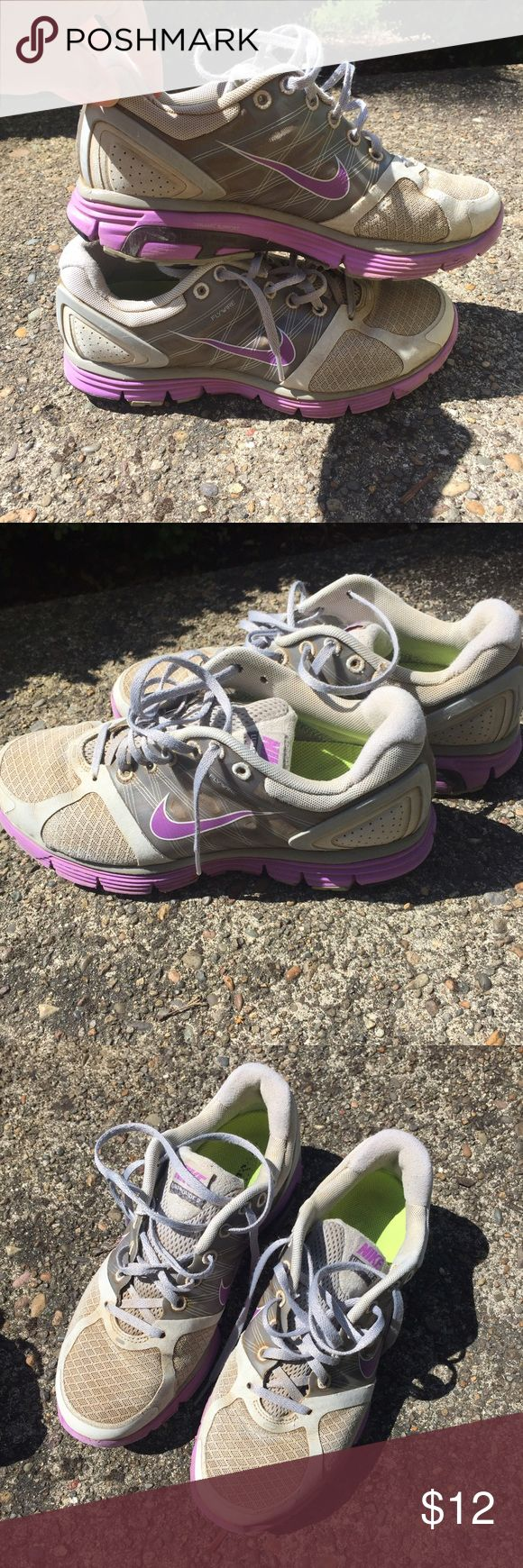 Nike Lunarglide 2 These shoes are very comfortable and great for any type of working out, running included! Well used but still in great shape! Price reflects the condition they're in. WOMENS SIZE 8.5 Nike Shoes Athletic Shoes