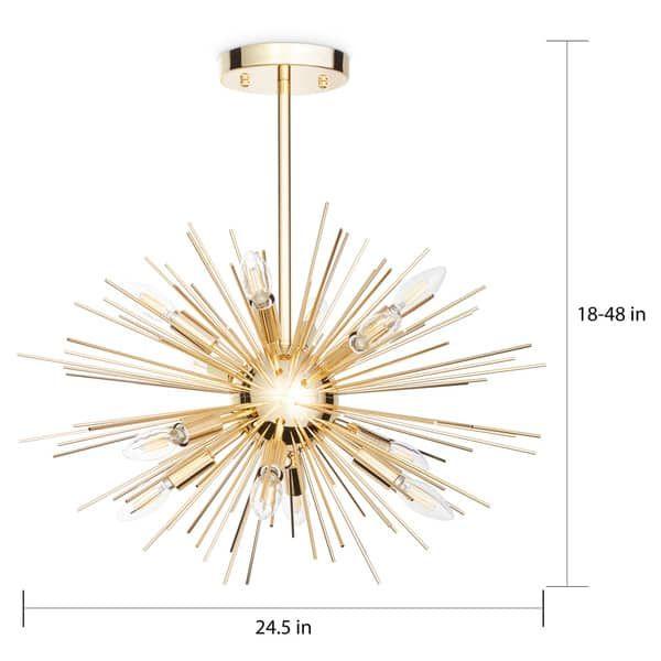 Safavieh Lighting Zadie Gold Retro Sunburst Led 12 Light Adjustable Pendant 24 5 X24 5 X18 48 In 2020 Wohnung