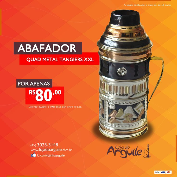 Abafador quad metal Tangiers XXL De R$ 95,00 / Por R$ 80,00 Em até 18x de R$ 5,81 ou R$ 76,00 via depósito  Compre Online: http://www.lojadoarguile.com.br/abafador-quad-metal-km