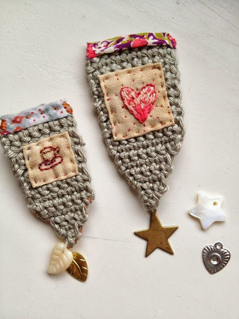 ♒ Enchanting Embroidery ♒ crochet, embroidered heart, brooches, One Bunting Away