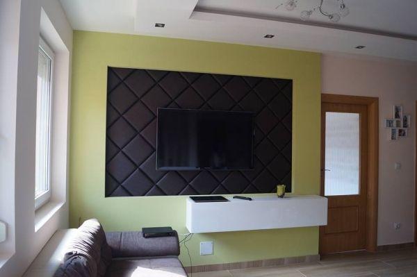 TV fal kivitelezése Kerma műbőr falpanelekből