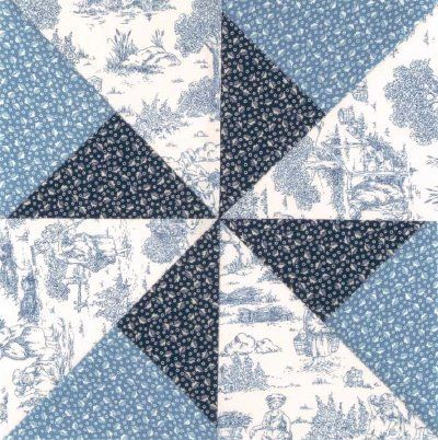 The Double Pinwheel Quilt Block creates a spiral withing a spiral. Download the free quilt block for your next quilting project.