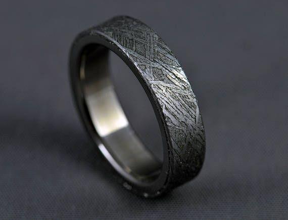 Meteorite titanium wedding ring engagement ring gibeon