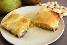 Une recette de dessert facile à base de feuille de brick, de frangipane, de poire et de chocolat. Gourmandise garantie !!